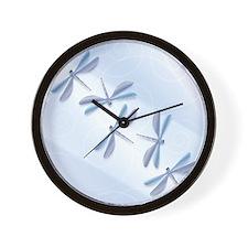 Steel Blue Dragonfly Wall Clock
