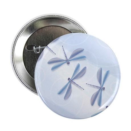 Steel Blue Dragonfly Button