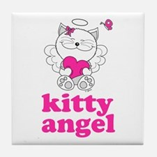 Kitty Cat Angel Tile Coaster