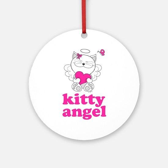 Kitty Cat Angel Ornament (Round)