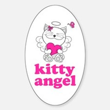Kitty Cat Angel Oval Decal