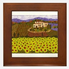 Unique Sunflower field Framed Tile