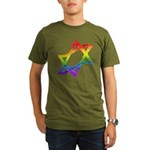 Rainbow Star of David Organic Men's T-Shirt (dark)