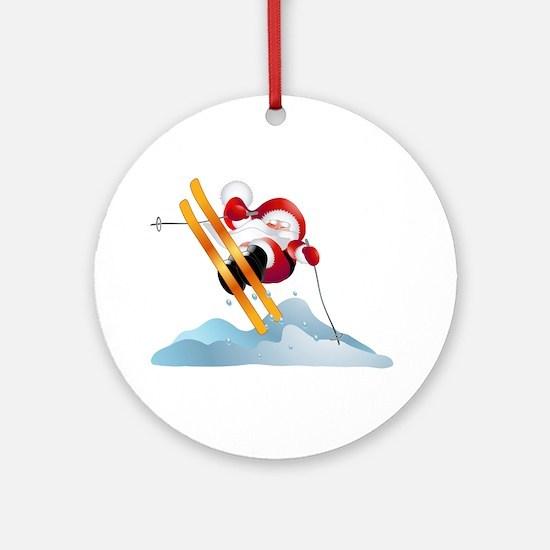 Santa's Ski Trip! Ornament (Round)