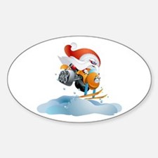 Santa Snowmobile Oval Decal