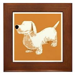 Retro Sausage Dog Framed Tile