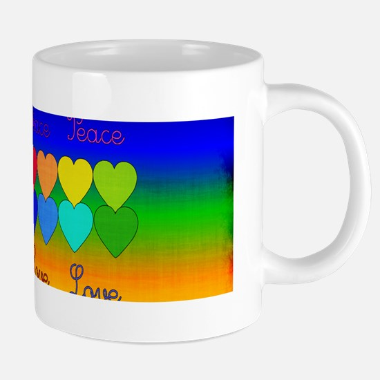 Rainbow Of Peace and Love 20 oz Ceramic Mega Mug