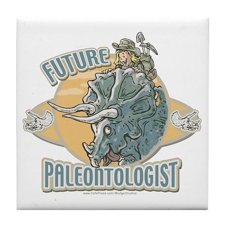 Girl Paleontologist Tile Coaster