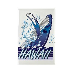 Hawiian Whale Rectangle Magnet