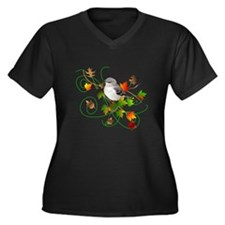 Mockingbird Women's Plus Size V-Neck Dark T-Shirt