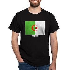 Algeria Flag (Front) Black T-Shirt