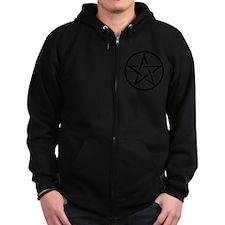 black gothic pentacle Zip Hoodie