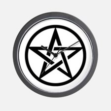 black gothic pentacle Wall Clock