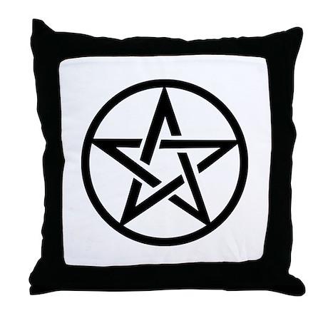 black gothic pentacle Throw Pillow