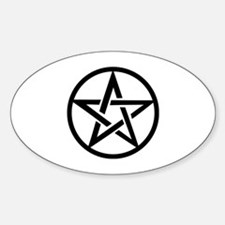 black gothic pentacle Oval Decal