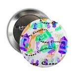 """Dreidels Happy Chanukah 2.25"""" Button (10 pack)"""