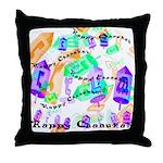 Dreidels Happy Chanukah Throw Pillow