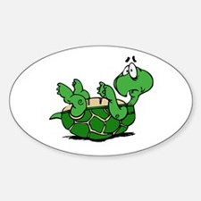Turtle on His Back Oval Decal