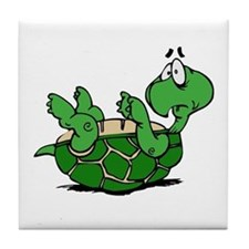 Turtle on His Back Tile Coaster