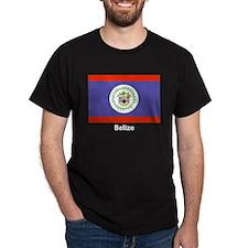 Belize Flag (Front) Black T-Shirt