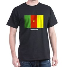 Cameroon Flag (Front) Black T-Shirt