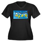 Comfort Zone Women's Plus Size V-Neck Dark T-Shirt