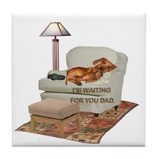 TV Doxie Dad Tile Coaster