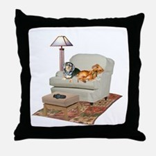 TV Dachshunds Throw Pillow