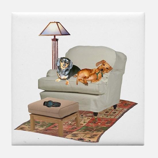 TV Dachshunds Tile Coaster