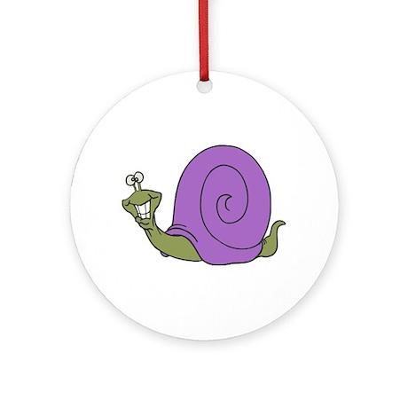 Happy Goofy Snail Ornament (Round)