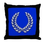 Blue with silver laurel Medallion or Throw Pillow