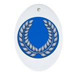 Blue with silver laurel Medallion or Ornament (Ova