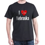 I Love Nebraska (Front) Black T-Shirt