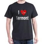 I Love Vermont (Front) Black T-Shirt