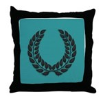 Teal with Black Throw Pillow