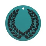 Teal with Black Ornament (Round)