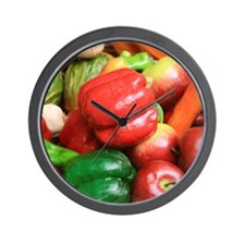 Wall Clock featuring colourful vegetables