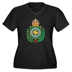 Brazil Empire Coat Of Arms Women's Plus Size V-Nec