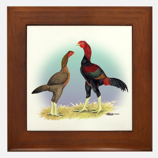 Malay Rooster and Hen Framed Tile