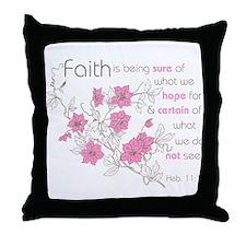 Faith (pink & brown) Throw Pillow