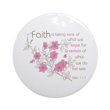 Faith (pink & brown) Ornament (Round)