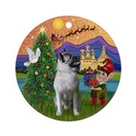 Norwegian Elkhound Xmas Fantasy Ornament (Round)