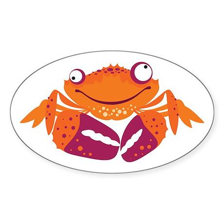 Funny Crab Oval Sticker (50 pk)