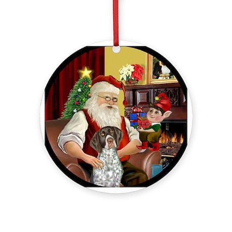 Santa & His German SH Pointer Ornament (Round)