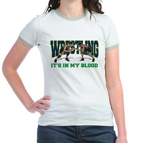 Wrestling It's In My Blood Jr. Ringer T-Shirt