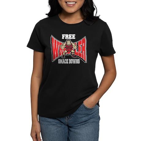 Free Smack Downs Wrestler Women's Dark T-Shirt