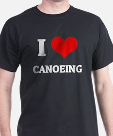 I Love Canoeing Black T-Shirt
