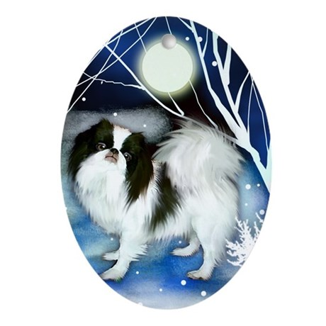 Japanese Chin Dog Winter Night Oval Ornament