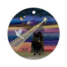 Christmas Star & Black Pomeranian Ornament (Round)