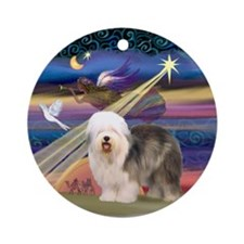 Xmas Star & Old English Sheepdog Ornament (Round)